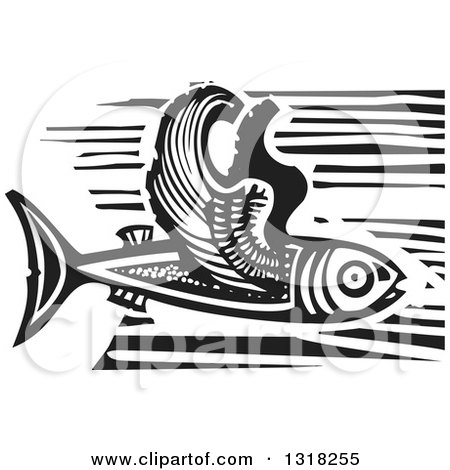 Clipart of a Black and White Woodcut Flying Fish - Royalty Free Vector Illustration by xunantunich