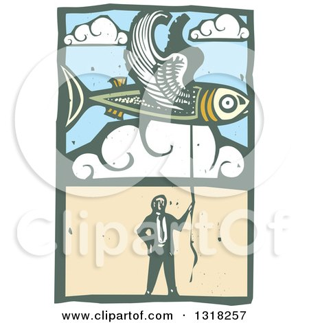 Clipart of a Woodcut Businessman Holding a String to a Flying Fish in the Sky - Royalty Free Vector Illustration by xunantunich