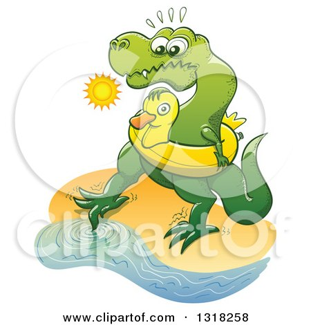 Clipart of a Cartoon Tyrannosaurus Rex Dinosaur Wearing an Inner Tube on a Beach and Testing the Water with a Toe - Royalty Free Vector Illustration by Zooco