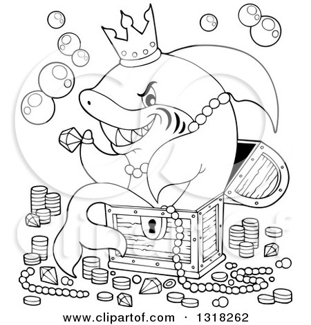 Lineart Clipart of a Cartoon Black and White Shark Sitting in a Treasure Chest and Surrounded by Booty - Royalty Free Outline Vector Illustration by visekart