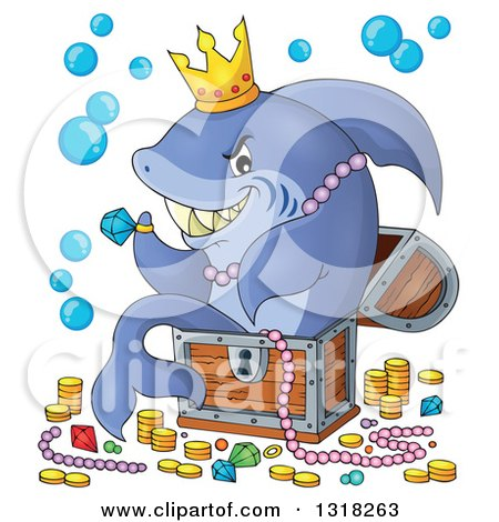 Clipart of a Cartoon Shark Sitting in a Treasure Chest and Surrounded by Booty - Royalty Free Vector Illustration by visekart