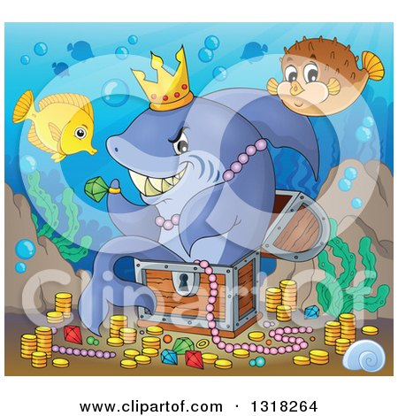 Clipart of a Cartoon Yellow Tang and Blowfish over a Shark Sitting in a Treasure Chest and Surrounded by Coins and Jewels - Royalty Free Vector Illustration by visekart
