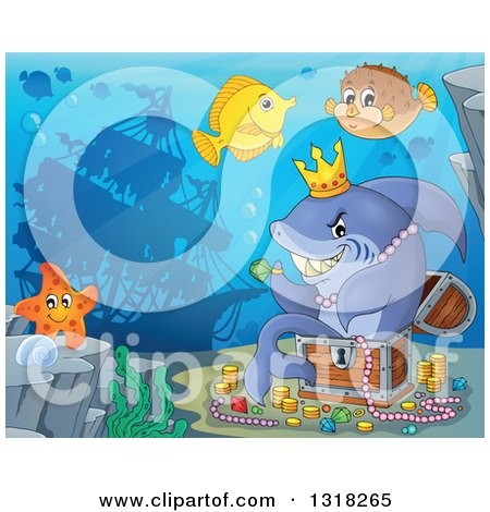 Clipart of a Cartoon Yellow Tang, Starfish and Blowfish by a Shark Sitting in a Treasure Chest and Surrounded by Coins and Jewels with a Silhouetted Sunken Ship - Royalty Free Vector Illustration by visekart