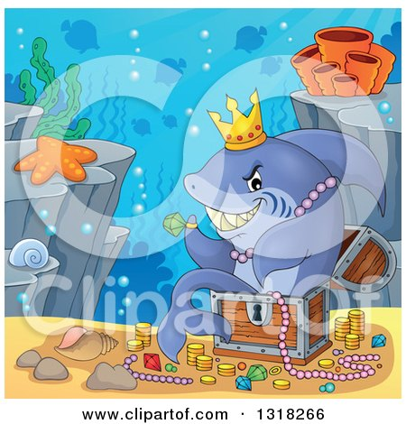 Clipart of a Cartoon Shark Sitting in a Treasure Chest and Surrounded by Coins and Jewels on a Reef - Royalty Free Vector Illustration by visekart