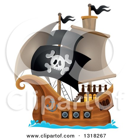 Clipart of a Cartoon Pirate Ship Sailing with a Jolly Roger Flag - Royalty Free Vector Illustration by visekart