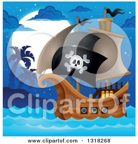 Clipart of a Cartoon Pirate Ship Sailing with a Jolly Roger Flag by an Island at Night - Royalty Free Vector Illustration by visekart