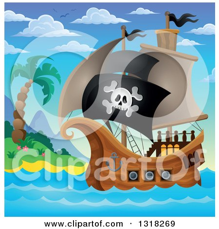 Clipart of a Cartoon Pirate Ship Sailing with a Jolly Roger Flag by an Island During the Day - Royalty Free Vector Illustration by visekart