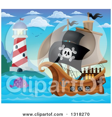 Clipart of a Cartoon Pirate Ship Sailing with a Jolly Roger Flag with a Fish and Lighthouse During the Day - Royalty Free Vector Illustration by visekart