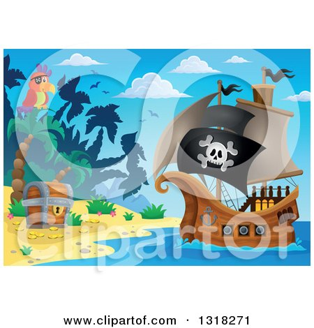 Clipart of a Cartoon Pirate Ship Sailing with a Jolly Roger Flag by a Parrot and Treasure Ches Ton an Island - Royalty Free Vector Illustration by visekart
