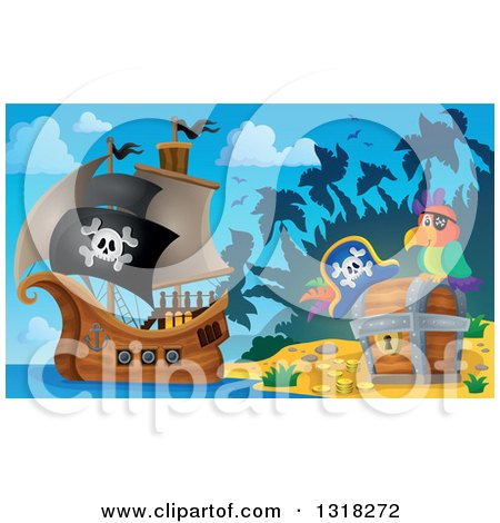 Clipart of a Cartoon Pirate Ship Sailing with a Jolly Roger Flag by a Parrot and Treasure Ches Ton an Island 2 - Royalty Free Vector Illustration by visekart