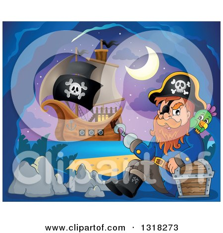Clipart of a Cartoon Pirate Ship Sailing with a Jolly Roger Flag and a Pirate Sitting with a Parrot and Treasure in an Island Cave - Royalty Free Vector Illustration by visekart