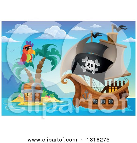 Clipart of a Cartoon Pirate Ship Sailing with a Jolly Roger Flag by a Parrot and Treasure Ches Ton an Island 3 - Royalty Free Vector Illustration by visekart