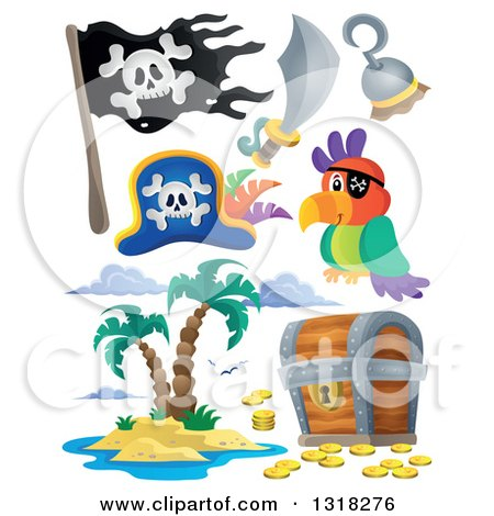 Clipart of a Cartoon Pirate Parrot, Accessories, Jolly Roger, Treasure Chest and Island - Royalty Free Vector Illustration by visekart