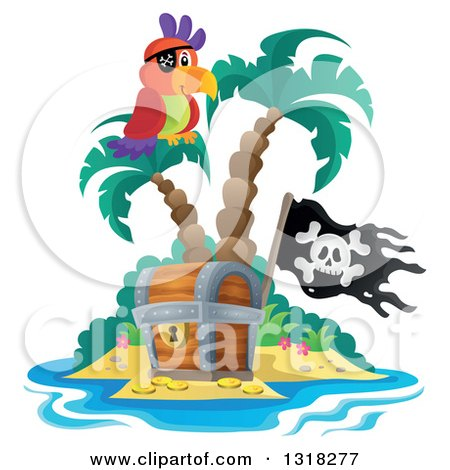 Clipart of a Cartoon Pirate Parrot on an Island Palm Tree over a Treasure Chest with a Jolly Roger Flag - Royalty Free Vector Illustration by visekart