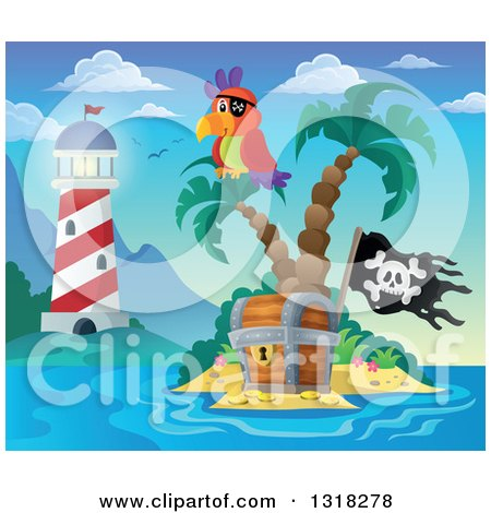 Clipart of a Cartoon Shining Lighthouse by a Pirate Parrot on an Island Palm Tree over a Treasure Chest with a Jolly Roger Flag - Royalty Free Vector Illustration by visekart