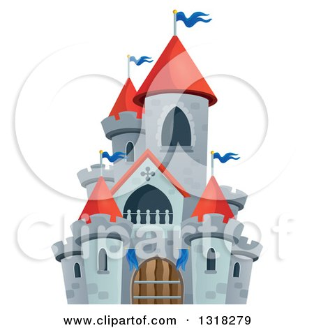 Clipart of a Gray Stone Castle with Red Turrets - Royalty Free Vector Illustration by visekart
