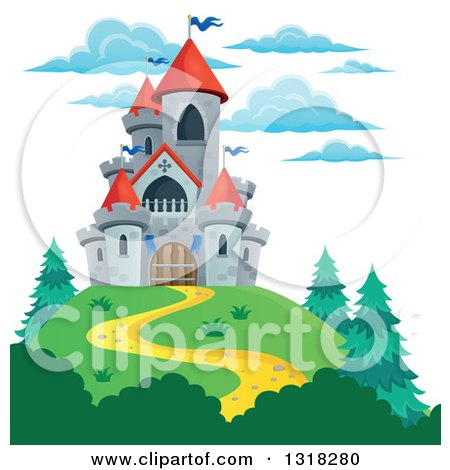 Clipart of a Castle Tower in the Mountains - Royalty Free