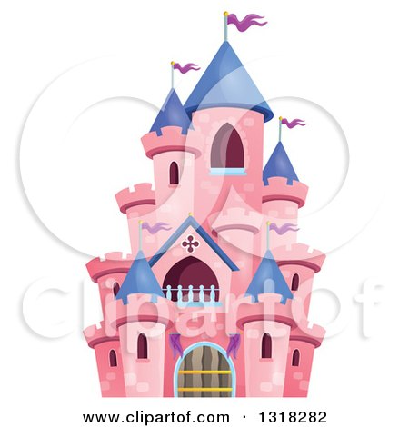 Clipart of a Pink Castle with Purple Turrets - Royalty Free Vector Illustration by visekart