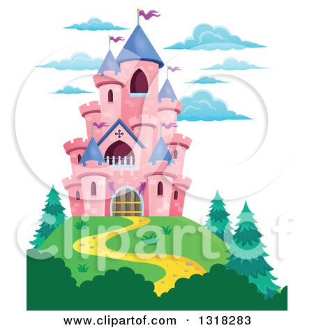 Clipart of a Pink Castle with Purple Turrets, on a Hill Top - Royalty Free Vector Illustration by visekart