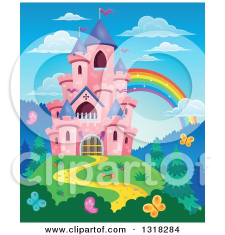 Clipart of a Pink Castle with Purple Turrets, on a Hill Top, with Butterflies and a Rainbow - Royalty Free Vector Illustration by visekart