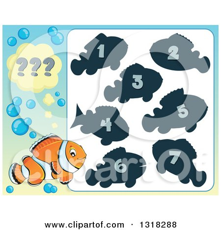 Clipart of a Clown Fish and Riddle Game - Royalty Free Vector Illustration by visekart