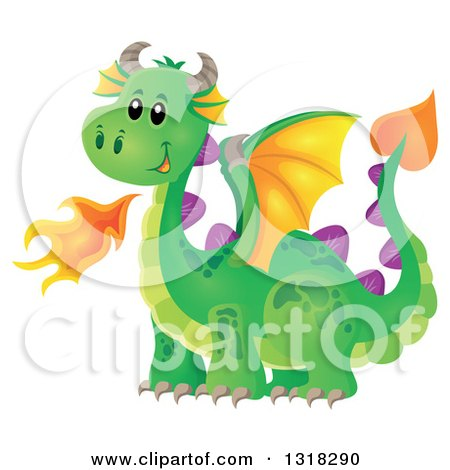 Clipart of a Green Fire Breathing Dragon - Royalty Free Vector Illustration by visekart