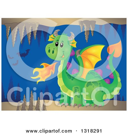 Clipart of a Green Fire Breathing Dragon in a Cave with Bats - Royalty Free Vector Illustration by visekart