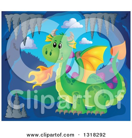 Clipart of a Green Fire Breathing Dragon in a Cave - Royalty Free Vector Illustration by visekart