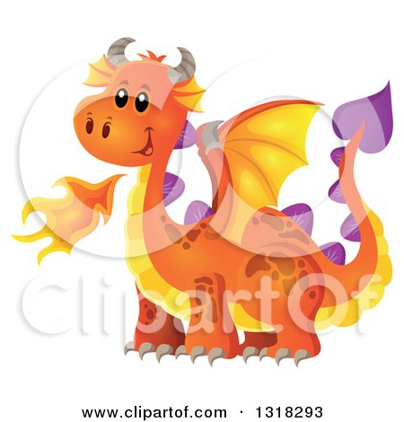 Clipart of an Orange Fire Breathing Dragon - Royalty Free Vector Illustration by visekart