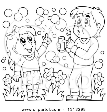 Lineart Clipart of a Cartoon Black and White Boy and Girl Blowing Bubbles - Royalty Free Outline Vector Illustration by visekart