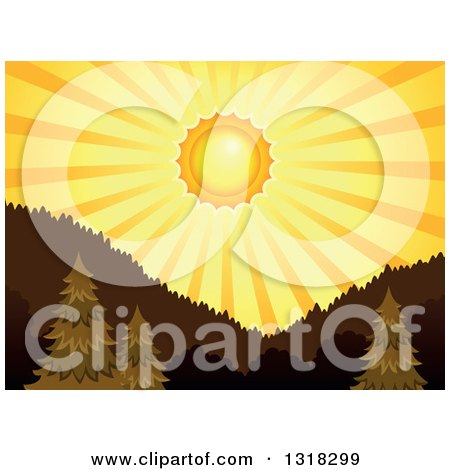 Clipart of a Shining Orange Sunset Sun and Rays over a Forest and Mountains - Royalty Free Vector Illustration by visekart