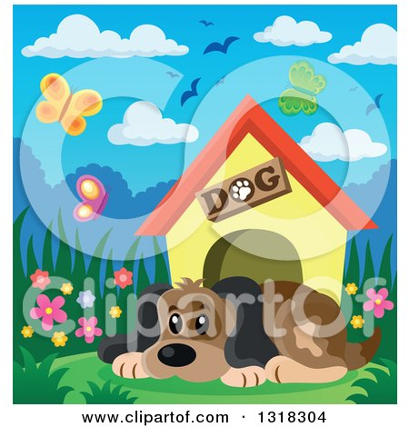 Clipart of a Cartoon Dog Resting by His House on a Spring Day - Royalty Free Vector Illustration by visekart