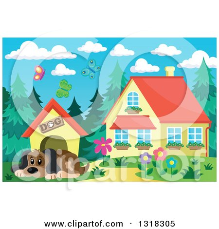 Clipart of a Cartoon Dog Resting by His House on a Spring Day, with a House in the Background - Royalty Free Vector Illustration by visekart
