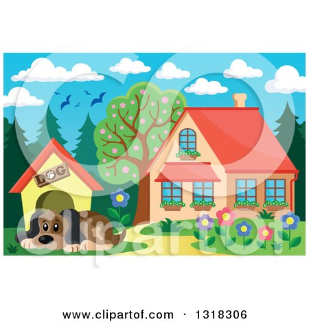 Clipart of a Cartoon Dog Resting by His House on a Sunny Day, with a House in the Background - Royalty Free Vector Illustration by visekart