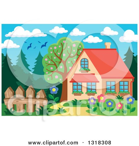 Clipart of a Cartoon Home with a Flower Garden, Forest and Birds Under a Day Sky - Royalty Free Vector Illustration by visekart
