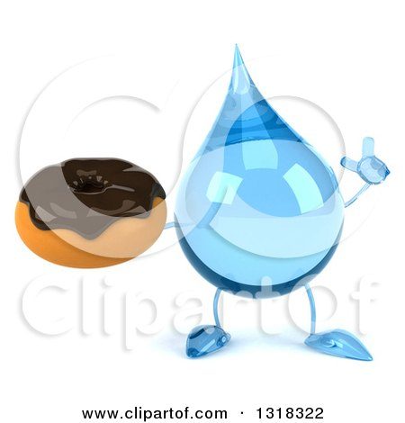 Clipart of a 3d Water Drop Character Holding up a Finger and a Chocolate Glazed Donut - Royalty Free Illustration by Julos
