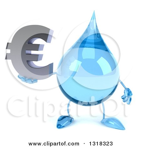 Clipart of a 3d Water Drop Character Holding a Euro Symbol - Royalty Free Illustration by Julos