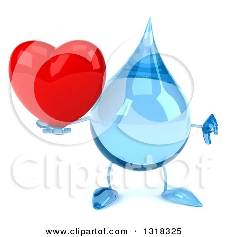 Clipart of a 3d Water Drop Character Giving a Thumb down and Holding a Heart - Royalty Free Illustration by Julos
