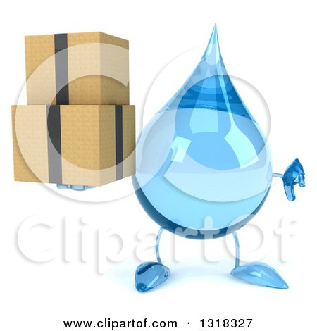 Clipart of a 3d Water Drop Character Holding a Thumb down and Boxes - Royalty Free Illustration by Julos
