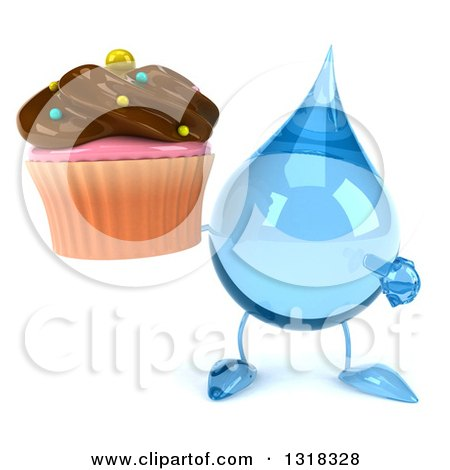 Clipart of a 3d Water Drop Character Holding and Pointing to a Chocolate Frosted Cupcake - Royalty Free Illustration by Julos
