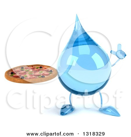 Clipart of a 3d Water Drop Character Holding up a Finger and a Pizza - Royalty Free Illustration by Julos