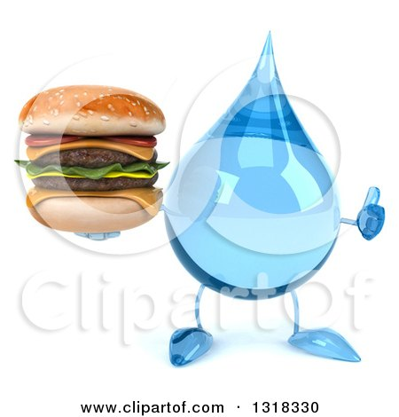 Clipart of a 3d Water Drop Character Giving a Thumb up and Holding a Double Cheeseburger - Royalty Free Illustration by Julos