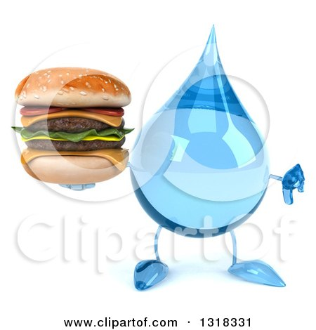 Clipart of a 3d Water Drop Character Giving a Thumb down and Holding a Double Cheeseburger - Royalty Free Illustration by Julos