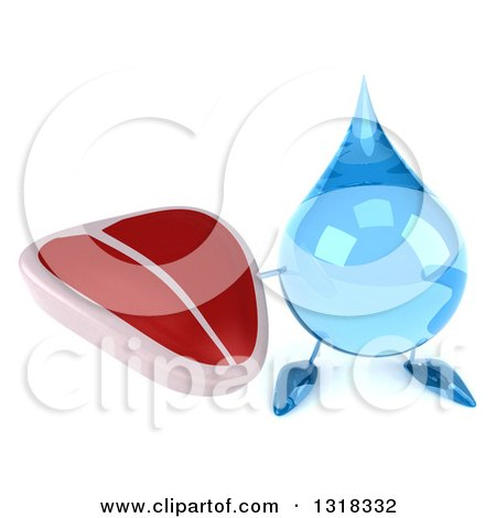 Clipart of a 3d Water Drop Character Holding up a Beef Steak - Royalty Free Illustration by Julos
