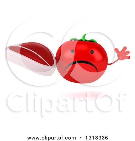 Clipart of a 3d Unhappy Tomato Character Jumping and Holding a Beef Steak - Royalty Free Illustration by Julos