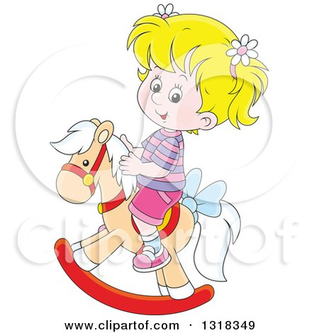 Clipart of a Cartoon Blond White Girl Playing on a Rocking Horse - Royalty Free Vector Illustration by Alex Bannykh