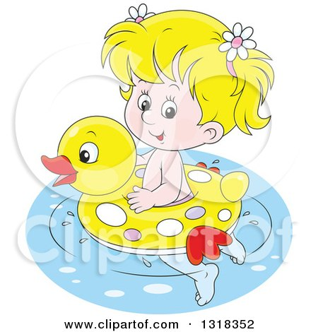 Clipart of a Cartoon Blond White Girl Swimming with a Duck Inner Tube - Royalty Free Vector Illustration by Alex Bannykh