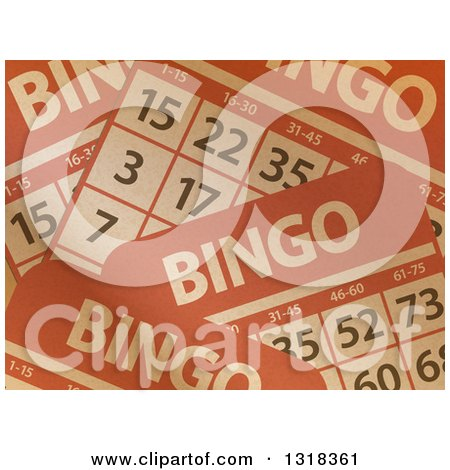 Clipart of a Background of Brown Paper Textured Bingo Cards - Royalty Free Vector Illustration by elaineitalia