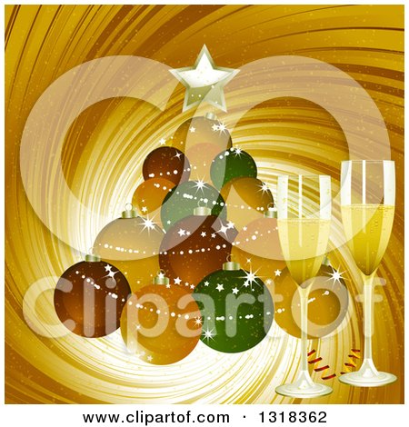 Clipart of a Christmas Ornament Bauble Christmas Tree with 3d Champagne Glasses over a Gold Swirl - Royalty Free Vector Illustration by elaineitalia