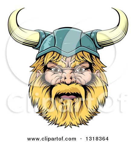 Clipart of a Cartoon Tough Blond Male Viking Warrior Head with a Horned Helmet - Royalty Free Vector Illustration by AtStockIllustration